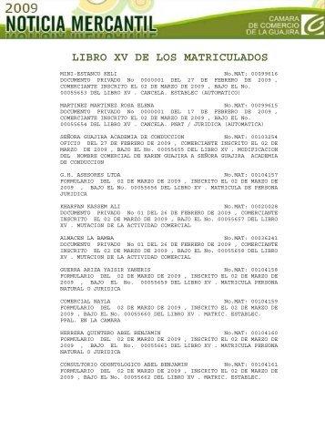 libro xv de los matriculados - Cámara de Comercio de La Guajira