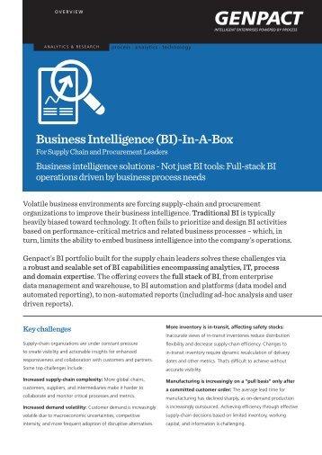Business Intelligence (BI)-In-A-Box - Genpact