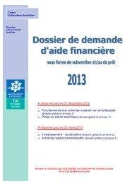 Dossier de demande d'aide finanière 2013 - Caf.fr