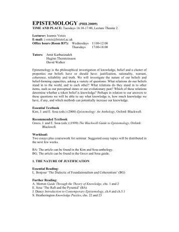 EPISTEMOLOGY (PHIL20009) - Ioannis Votsis