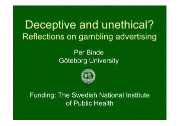 Deceptive and unethical? Reflections on gambling advertising