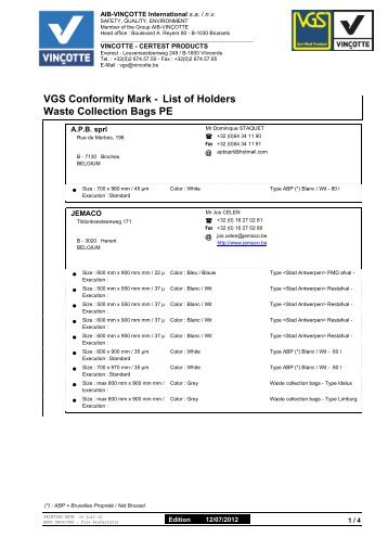 Waste Collection Bags PE VGS Conformity Mark - List of ... - Vinçotte