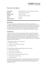 Position Description - The University of New South Wales