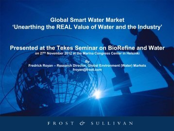 Global Smart Water Market 'Unearthing the REAL Value of Water ...