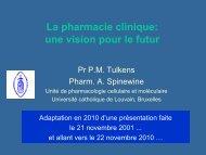 La pharmacie clinique - UCL