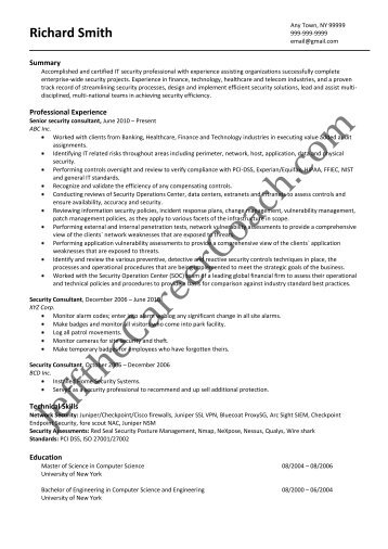 Download The Security Consultant Resume Sample One In PDF.