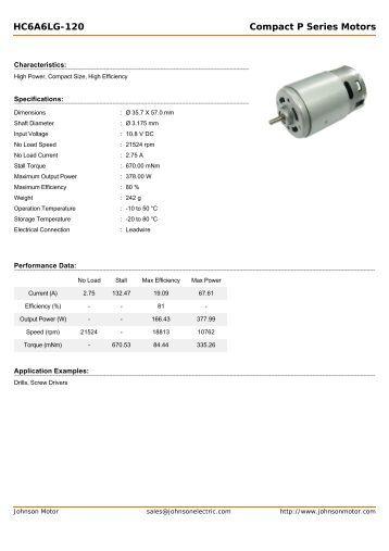 HC6A6LG-120 Compact P Series Motors - Johnson Electric