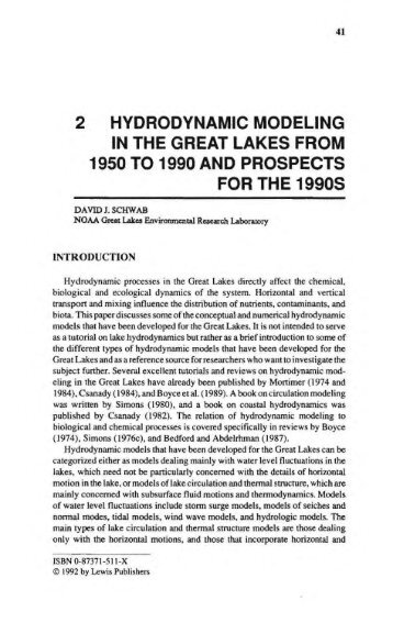 2 hydrodynamic modeling in the great lakes from ... - GLERL - NOAA