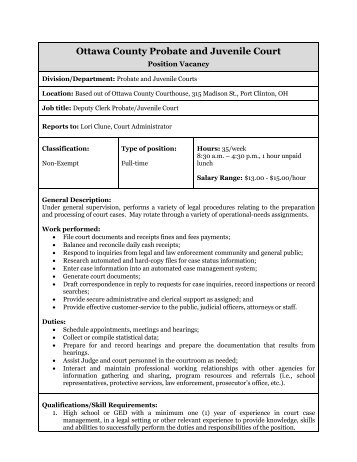 Job Description Form - Ottawa County
