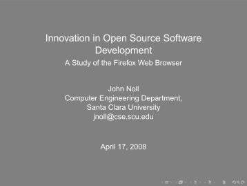 Innovation in Open Source Software Development - Computer ...
