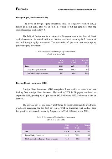 Findings for Foreign Equity Investment in Singapore 2011 - Statistics ...
