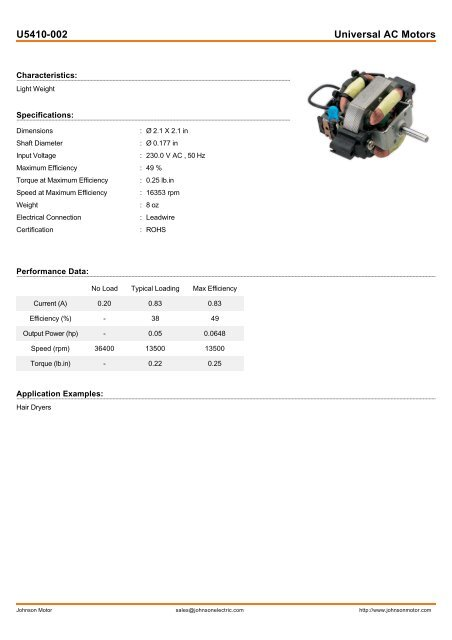 U5410-002 Universal AC Motors - Johnson Electric
