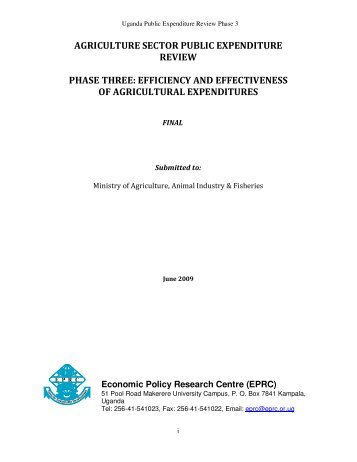 agriculture sector public expenditure review phase three - Economic ...