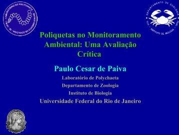 Poliquetas no monitoramento ambiental - Instituto de Biologia da ...