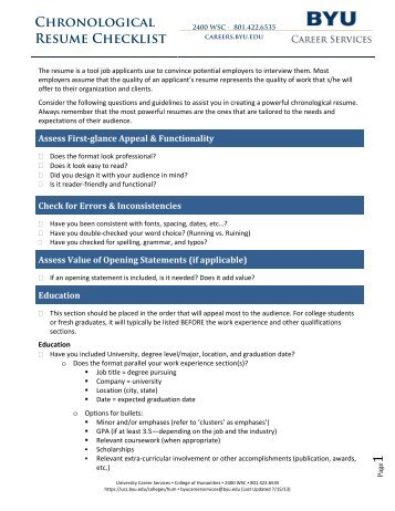 Skills-based Resume Checklist - University Career Services