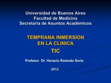 TEMPRANA INMERSION EN LA CLINICA