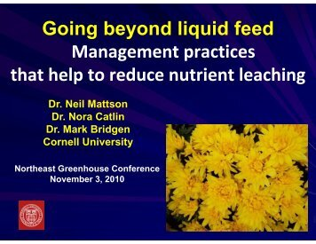 Going Beyond Liquid Feed - Cornell Greenhouse Horticulture