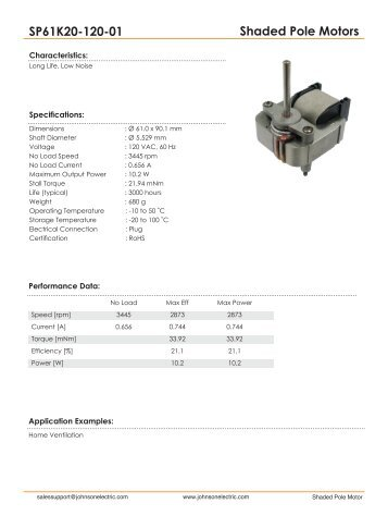Shaded Pole Motors SP61K20-120-01 - Johnson Electric
