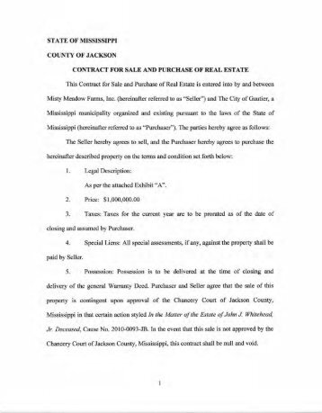 contract for sale and purchase of real estate - City of Gautier