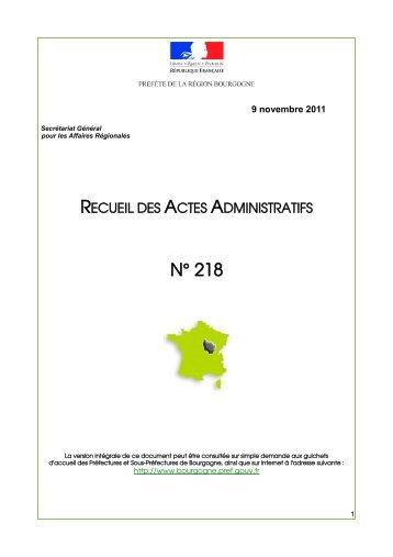 RAA 218 - Préfecture de la Côte-d'Or