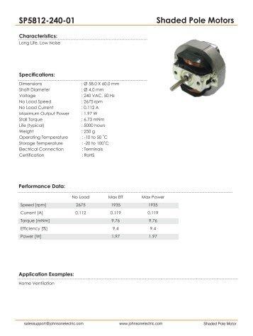 Shaded Pole Motors SP5812-240-01 - Johnson Electric