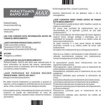 345070A PARACETAMOL 650 MAX PROSPECTO P2 - Raffo