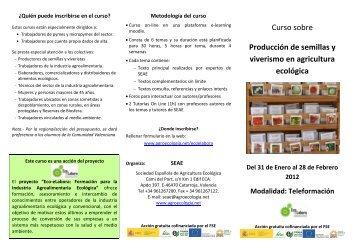 tríptico del curso - Sociedad Española de Agricultura Ecológica