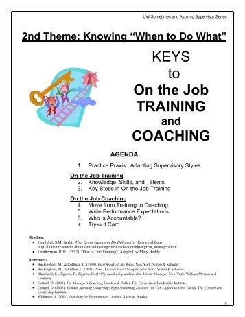 KEYS to On the Job TRAINING COACHING