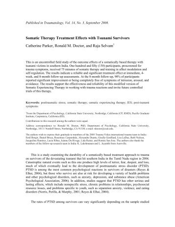 Somatic Therapy Treatment Effects with Tsunami Survivors ...