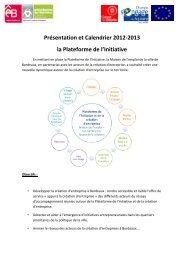 Présentation et Calendrier 2012-2013 la Plateforme de l'Initiative