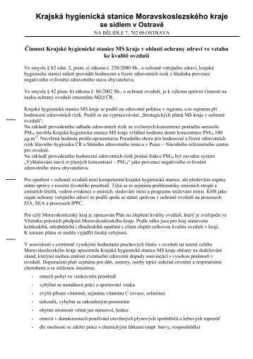 Činnost Krajské hygienické stanice MS kraje v oblasti ochrany ...