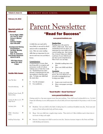 February 2012 Parent Newsletter - Public Schools of Robeson County