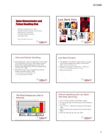 Spine Biomechanics and Patient Handling Risk Low Back ... - VISN 8