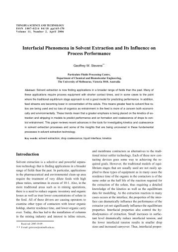 Interfacial Phenomena in Solvent Extraction and Its Influence on ...