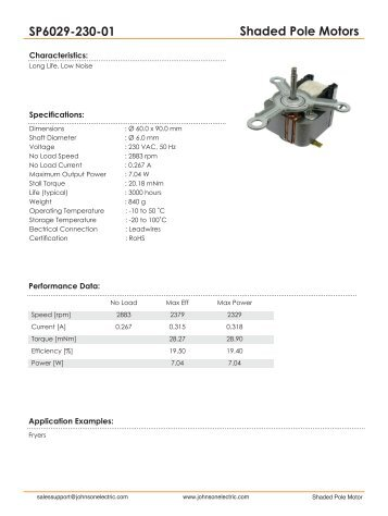 Shaded Pole Motors SP6029-230-01 - Johnson Electric