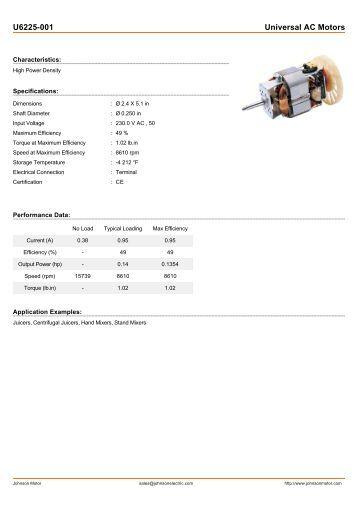U6225-001 Universal AC Motors - Johnson Electric