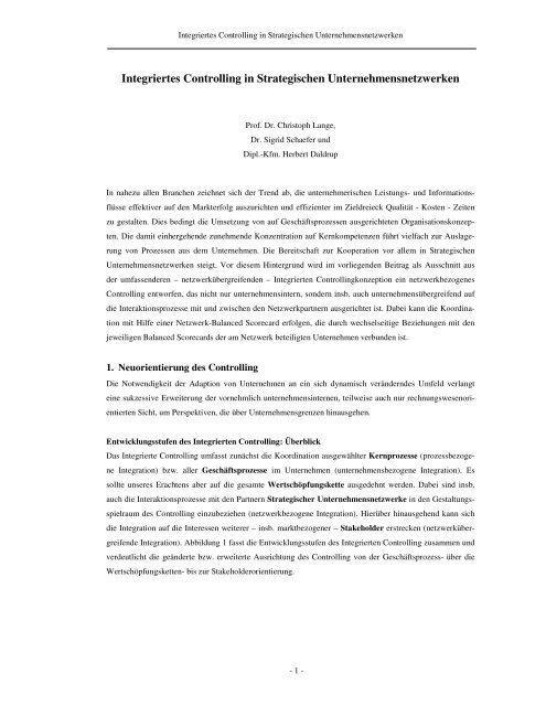 Integriertes Controlling in Strategischen Unternehmensnetzwerken