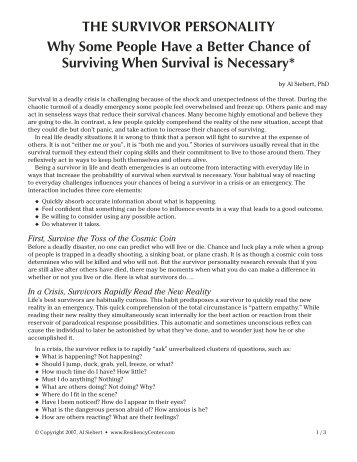 THE SURVIVOR PERSONALITY Why Some People Have a Better ...