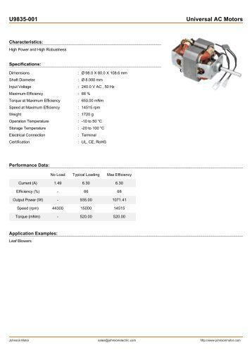 U9835-001 Universal AC Motors - Johnson Electric