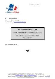 règlement particulier du championnat de savate 2012-2013