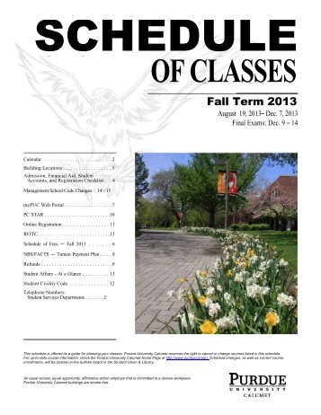 Fall 2013 Class Schedule_revised_July 16 - Purdue University ...