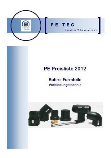 PE Preisliste 2012 Rohre Formteile Verbindungstechnik