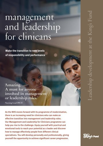 Management and Leadership for Clinicians