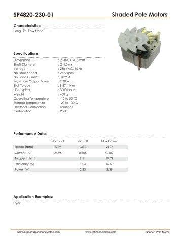 Shaded Pole Motors SP4820-230-01 - Johnson Electric