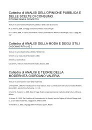 Cattedra di ANALISI DELL'OPINIONE PUBBLICA E DELLE SCELTE ...
