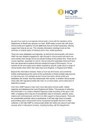 As part of our work to re-invigorate clinical audit, in line with ... - HQIP