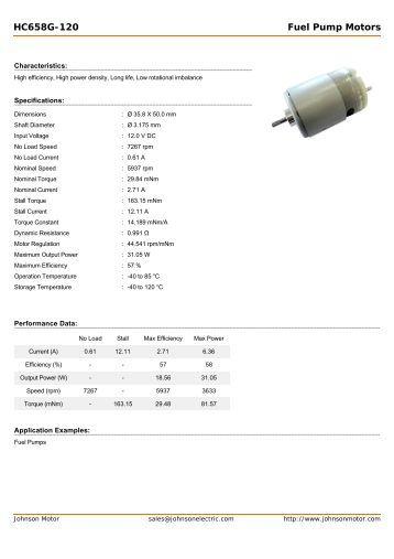 HC658G-120 Fuel Pump Motors - Johnson Electric