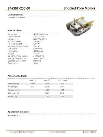 Shaded Pole Motors SP6309-230-01 - Johnson Electric