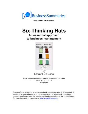 OF DE PDF BONO EDWARD SIX THINKING HATS
