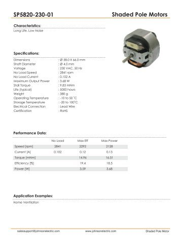 Shaded Pole Motors SP5820-230-01 - Johnson Electric